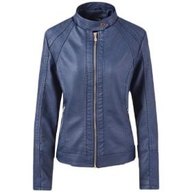 Keaac 女性フォークスレザージップアップバイクのPUバイカーアウトコートコート Dark Blue XL