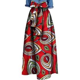 Romancly 女性ダシキアフリカネクタイウエストホーミングアップトランペットスカート 1 XL