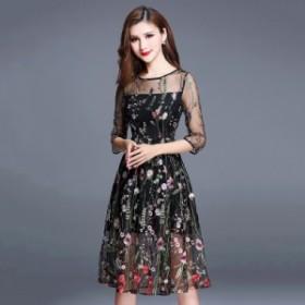 フラワーデザインがフェアリーなシースルーワンピース お呼ばれ 大人かわいい ワンピース 結婚式 ドレス フォーマルドレス 20代