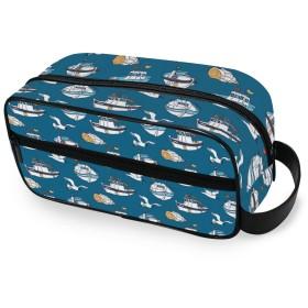 カモメ 漁船 化粧ポーチ トイレタリーバッグ 防水 大容量 洗面用具 トラベルポーチ 収納ポーチ 出張 海外 旅行グッズ 男女兼用
