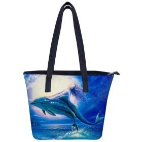 青い星空の人魚のイルカレディースレザーハンドバッグショルダーバッグ ファスナー付き ママ かばん大容量丈夫人気手提げ袋多機能バッグ 買い物 通勤通学遠足旅行収納便利