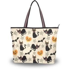 MASAI トートバッグ 猫柄 コウモリ ハロウィン 大容量 レディース 軽量おしゃれa4肩掛け 2way ファスナー付き布通勤通学