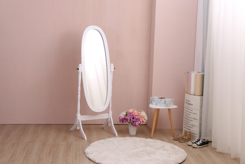歐式 verna維娜典雅360度可翻轉橢圓全身鏡 穿衣鏡-白色