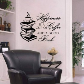 壁デカール引用幸福はコーヒーと良い本読書ビニールステッカー子供ライブラリ壁画家の装飾42×57センチ
