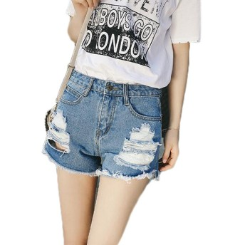 GuDeKeレディース 夏 ファッション デニム ショートパンツ ハイウエスト 短パン ダメージ 大きいサイズ ショーパン ライトブルー ブルー(ライトブルー29)
