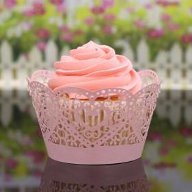 ハート形 組み立てる ケーキ ペーパー ラップ カップケーキ ラッパー 結婚式 - ピンク