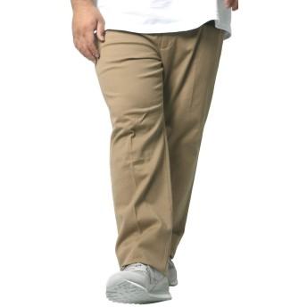 [へインズ] 大きいサイズ メンズ ストレッチ パンツ ツータック チノパン ベージュ 110