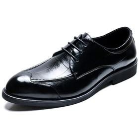 [FYEJWH] ビジネスシューズ 本革 ロングノーズ 紳士靴 レースアップ 型押し ドレスシューズ 美脚 歩きやすい ブラックブラウン 通勤 インヒール クッション メンズ スリッポン ローカット
