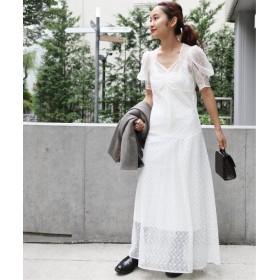 EDIT. FOR LULU エンブロイダリー チュールレースドレス◆ ホワイト フリー
