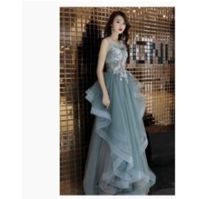 ロングドレス 刺繍 パーティードレス Aライン キャミソールワンピース ピアノ ウエディングドレス 大きいサイズ イベント用 結婚式 二次