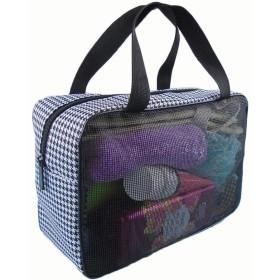 諸葛·チューコー 結晶メッシュバスバッグメンズレインコートウォッシュ折りたたみポータブル風呂収納バッグ (Color : Black)