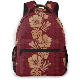 男女兼用のかわいい カジュアルバック パック リュックサック ファッションバッグ 旅行バックパック カレッジバッグ スポーツ ハイキング アウトドア 人気 高校生 中学生 大学生 通学通勤 大容量-ハワイの花柄