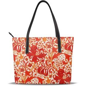 バッグ 赤い花柄トートバッグ メンズ レディース ビジネス トート 大容量 A4 B4 レザー 革 通勤 通学 軽量 カジュアル 縦型 旅行 丈夫 防水
