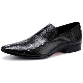 メンズオックスフォードシューズ英国の靴スリップオンビジネスシューズ紳士靴カジュアルシューズワニテクスチャ用宴会パーティー