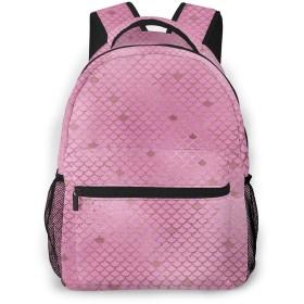 男女兼用のかわいい カジュアルバック パック リュックサック ファッションバッグ 旅行バックパック カレッジバッグ スポーツ ハイキング アウトドア 人気 高校生 中学生 大学生 通学通勤 大容量 -ピンクの人魚の鱗