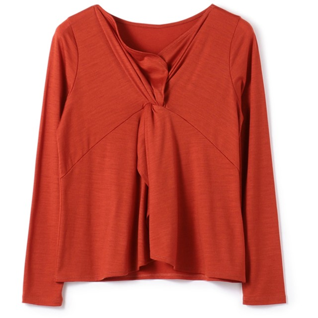 ESTNATION / フロントツイストVネックカットソー オレンジ/38(エストネーション)◆レディース Tシャツ/カットソー