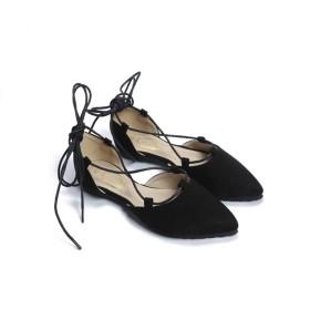 [AJGLJIYER LTD] ぺたんこ パンプス レザー カジュアル ぺたんこ靴 ブラック 歩きやすい フラットシューズ レディース ソフトボトム 長時間歩いても疲れない コーディネートしやすい ソフトクッション 軽量 24.5cm カジュアルパンプス