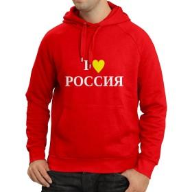 lepni.me パーカー 私はロシア、モスクワ、政治、Россия、ロシア語を愛する (L 赤 ホワイト)
