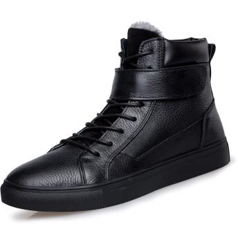[Jusheng-shoes] メンズシューズ 男性用ショートブーツコットンブーツレースアップフック&ループストラップ本革フラットヒール耐摩耗性滑り止めラウンドトゥフリース内側 カジュアルシューズ (Color : ブラック, サイズ : 23 CM)