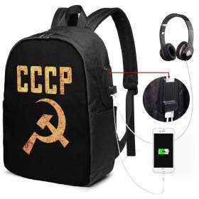 古い学校風化させたソビエトcccpのワイ USBバックパッククラシックコンピューターバッグ17インチラップトップバックパック旅行ビジネスラップトップバックパックユニセックス大容量で耐久性のあるバックパック