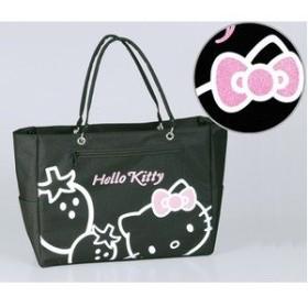 HeLLo Kitty ハローキティ ストロベリートートバッグ/鞄 【マチ・ポケット付き】 ブラック(黒) ds-1569418