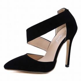 シューズ ファッション セクシーな先のとがったスティレットハイヒールのサンダル女性のスエードハイヒール 快適 (色 : 黒, サイズ : 40)