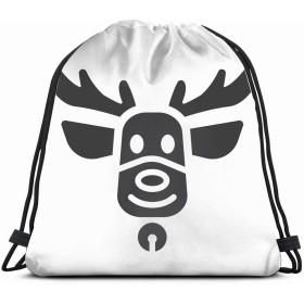 クリスマス鹿グリフアイコン新年記号シンボル動物カスタマイズされた男性と女性のショルダー巾着袋バックパック文字列バッグ学校リュックサックジムスポーツバッグ