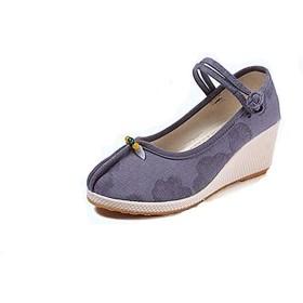 [ninifashion] パンプス ローヒール ラウンドトゥ レディース オフィス 美脚パンプス 通勤 キャンバス 女の子 靴 ハイヒール シューズ 7cmヒール カジュアル 痛くない 歩きやすい