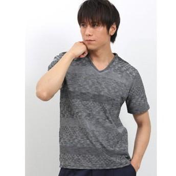 【TAKA-Q:トップス】吸汗速乾 市松ジャガード パネル切替Vネック半袖Tシャツ