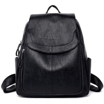 2019女性レザーバックパック高品質サックAドス女性バッグパック高級デザイナー大容量カジュアルデイパック女の子Mochilas (black)