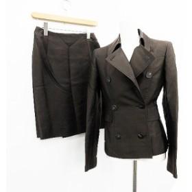 【中古】フォクシー FOXEY セットアップ 上下 ジャケット スカート ひざ丈 タイト 絹 シルク 40 茶 レディース