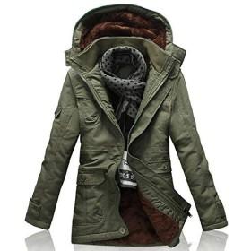 YFFUSHI ダウンジャケット メンズ M-5XL 綿 全6色 厚手 柔らかい 着心地抜群 秋 冬 上品 裏起毛 大きいサイズ フード付き カジュアル ダウン 防寒防風 暖かい ファッション きれいめ (5XL, アーミーグリーン)