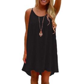 YAXINHE 女性固体着色スリングシフォンバックレス中空アウトミニクラブドレス Black 3XL