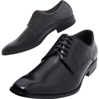 [Lime Garden] ビジネスシューズ メンズ プレーントゥ 紳士靴 外羽根 軽量 LG208(黒,25.5cm)