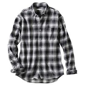 [nissen(ニッセン)] お腹ゆったりチェック柄ボタンダウン 長袖 シャツ 大きいサイズ メンズ 黒×白 10L