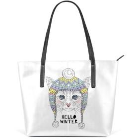 女性のハンドバッグ 大容量 ウォレット 女の子ショッピングハンドバッグ 高級PUレザー ファッションショルダーバッグ こんにちは冬