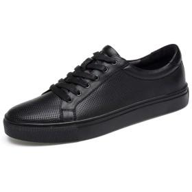 [Jusheng-shoes] メンズシューズ メンズスケートシューズレースアップ本革通気性ロートップ穴あき丸いつま先カジュアル耐摩耗性滑り止め カジュアルシューズ (Color : ブラック, サイズ : 22.5 CM)