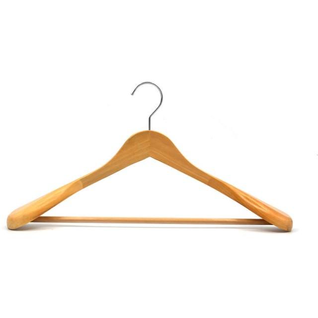 サントレード 衣類ハンガー 幅広い 木製 スーツ コート ドレス ジャケット 重い服 クロゼット収納 (ベージュ)