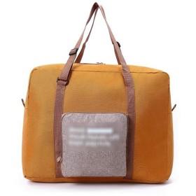 Lzatong(ナツアトン)ボストンバッグ 折り畳み式 大容量 収納ポーチ付 スーツケース 出張 旅行 (黄)