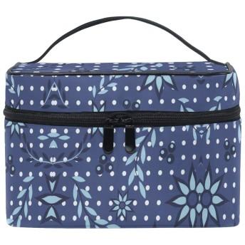 青い花スポット化粧品袋オーガナイザージッパー化粧バッグポーチトイレタリーケースガールレディース