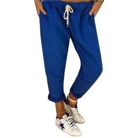 Keaac Women's Fashion Slim Drawstring Waist Solid Jogger Sweatpants Blue XXL