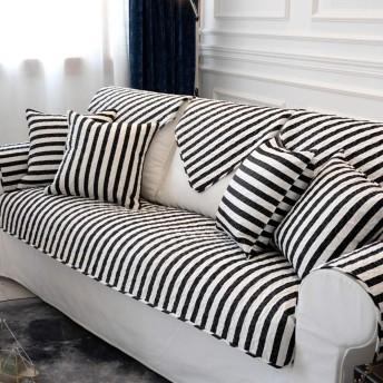 かえるの家 四季通用 滑り止め ソファーカバー 布製 厚手 汚れに強い キルティング マルチカバー 北欧風 アメリカ式 チェック柄 ラグ 正方形 長方形 白黒バー 7070cm