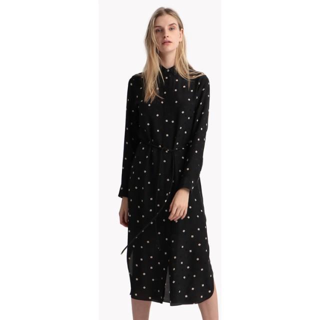 【Theory】Square Silk Belted Shirtdress