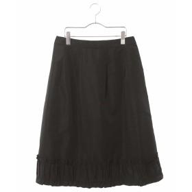 HIROKO BIS 【洗濯機で洗える】フリルギャザーミディスカート その他 スカート,ブラック