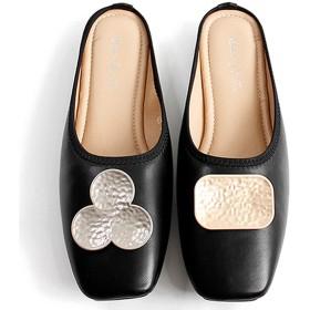 [JUIN] パンプス 24.5cm かかとなしラウンドトゥ ミュール フラットタイプ シューズ レディース 靴 ミュール フラット スクエアトゥ スリッパシューズ サンダル ぺたんこ 無地 シンプル ふわふわ ブラック 可愛い 30代 40代 優しい