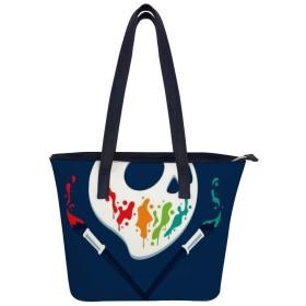 トート 骷髅 レデイース 手提げバッグ 両面 大容量 軽量 通勤 通学 旅行 高校生 女の子 革 A4 耐久性 人気 肩掛けバッグ
