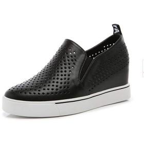 [GUREITO] レディース インヒールスニーカー スリッポン ローファー メッシュ 通気 身長アップ ウエッジソール 婦人靴 履き心地 柔らかい 白 黒 シルバー