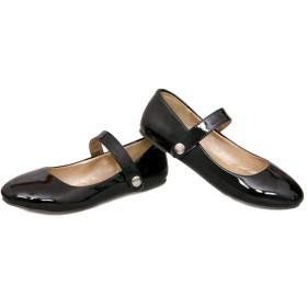 [AcMeer] フラットシューズ レディース 大きいサイズ 小さいサイズ ぺたんこ ベルト付き 歩きやすい ダンスシューズ デイリー 婦人靴 学生靴 学校 エナメル 美脚 女の子 社交 パンプス 黒 赤