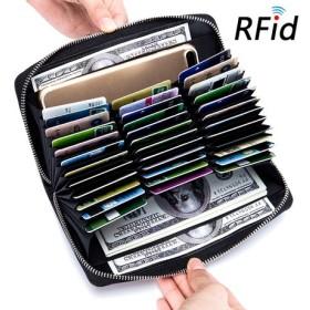真皮オルガンカードカバンの底が財布のパスポートで包んでrfid)多目的男さんはあまり大容量の名刺を包んで