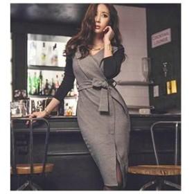 レディース ワンピース ローブ風 セクシー 大人 タイトドレス 海外 セクシー 韓国ファッション